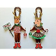 Basenji Christmas Ornament REINDEER vintage style chenille ORNAMENTS set of 2