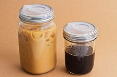 the Cuppow..molded lid for standard Ball jar....great travel mug for iced drinks..from Aaron Panone & Joshua Resnikoff...order from Cuppow.com
