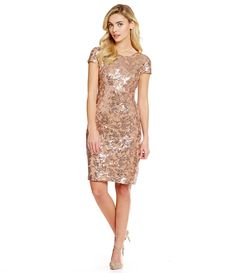 $94.80 Dillard's Calvin Klein Short-Sleeve Cowl-Back Sequin Dress