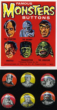 Famous Monsters Buttons
