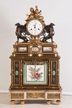 A Louis XVI ormolu-mounted Sèvres porcelain musical mantel clock which is thought to have belonged to Queen Marie Antoinette