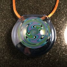 Handblown Glass Wigwag Hollow Pendant Bead  by MajesticGlassArts