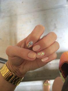 Mermaid nails! Nude nails with mermaid scales and aqua gems!!