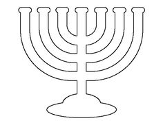 Menorah pattern. Use the printable outline for crafts, creating stencils, scrapbooking, and more. Free PDF template to download and print at http://patternuniverse.com/download/menorah-pattern/