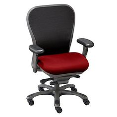 Mid-Back Mesh Ergonomic Computer Chair, Adjustable, Durable, Comfortable, Red.
