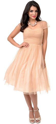 Iconic by UV Pink Swiss Dot Sweet as Peach Pie Swing Dress | Unique Vintage Remix Your Wardrobe: One Dress, Four Ways