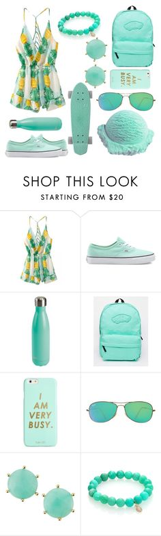 """""""Pastel Green"""" by carlybae ❤ liked on Polyvore featuring Vans, ban.do, Ray-Ban, Panacea, Sydney Evan, GREEN, pastel, mint and pineapple"""