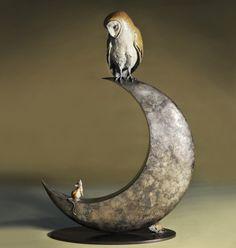 Owl Stuff: Owl & Moon Bronze Sculpture by Theodore Gillick