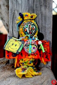 Rolled felt doll painted and stamped with jewelry, yarn and love - $100 - Powered by Pin2Sell