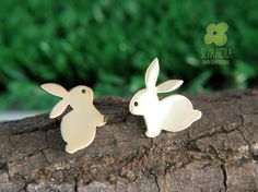 AN01 #Bunnies Goldplated brass Post #Earrings. Studs. Handmade by Silvia Ardila on Etsy, $20.50 #gift