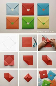 Origami Papier falten bunten Umschlag - List of the most creative DIY and Crafts Origami Paper Folding, Origami Diy, Paper Folding Crafts, Origami Gifts, Paper Crafts Origami, Color Paper Crafts, Origami Cards, How To Make Origami, Origami Design