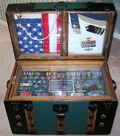 Antique Trunk Dome Top with a Shadow Box and Steamer Trunks Make the perfect military retirement gifts for military promotions, enlisted or officer Military Retirement Parties, Retirement Gifts, Retirement Ideas, Retirement Countdown, Diy Shadow Box, Shadow Box Frames, Shadow Box Table, Military Awards, Military Army
