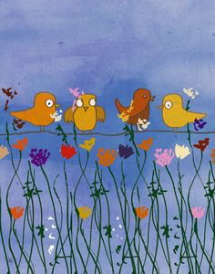 Birds and Flowers 1 Canvas Art