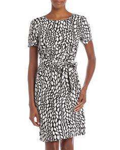 Tie-Belt Short-Sleeve Print Dress - Last Call by Neiman Marcus