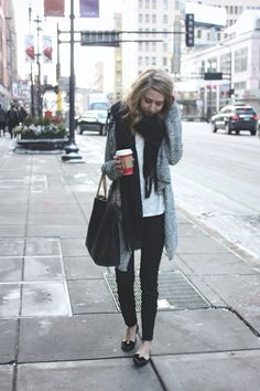 TOBI sweater, DSTLD denim, The Loft Boutique tee, Loly in the Sky flats, JustFab handbag, Free...