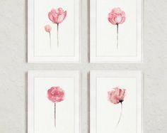 Baby Set 4 pivoine rose peinture aquarelle, Abstract Floral Print Art minimaliste, Shabby Chic Nursery Wall Decor, pivoines fleurs maison jardin