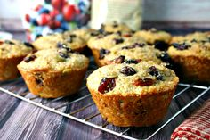 Super Berry 10 Grain Muffins. Hearty and healthy muffins from Bob's Red Mill 10 Grain Hot Cereal and Made in Nature Super Berry Fusion.