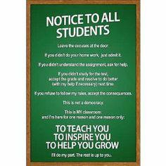 Amazon.com - (13x19) Notice to all Students Classroom Rules Poster - Behavior Chart Classroom