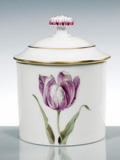 Sugar bowl, Flower painting 'tulips', coloured, lim., num., gold rim, ø 8 cm