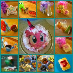 My Little Pony Party pinkie pie cake pinkie pie pie twilight sparkle star sandwiches spike biscuits spike cookies rarity unicorn horns ice cream cone repurpose fluttershy cutie mark cupcake apple jack apple snacks rainbow dash jelly shot