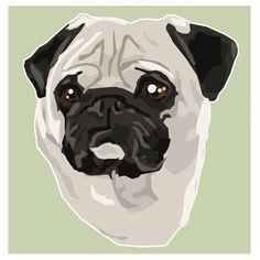 Pug Toy Breed Pet Dog Illustration Art Print Critter Pawtraits Square