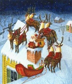 Santa and Eight Tiny Raindeer
