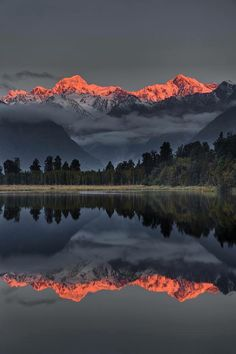 Sunset Reflection Of Lake Matheson Framed Print by Colin Monteath , landscape photography with people Beautiful World, Beautiful Places, Jolie Photo, Amazing Nature, Beautiful Landscapes, Cool Landscapes, The Great Outdoors, Wonders Of The World, Landscape Photography