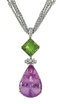 A kunzite, peridot and diamond necklace  The pear-shaped kunzite and square-cut peridot with brilliant-cut diamond cluster connecting link and brilliant-cut diamond surmount, to a cable-link triple neck chain spectacle-set with brilliant-cut diamonds and brilliant-cut diamond clasp, pendant 6.4cm long, chain 41.0cm long