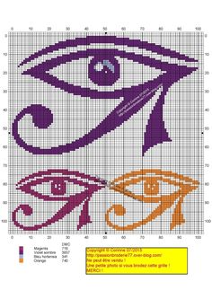 Oeil d'Orus Bead Loom Patterns, Crochet Stitches Patterns, Embroidery Patterns, Cross Stitch Patterns, Tiny Cross Stitch, Beaded Cross Stitch, Cross Stitch Embroidery, Modele Pixel Art, Bobble Crochet