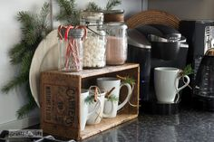#9. Crate and mason jar hot cocoa station / 10 quirky, upcycled kitchen must haves you won't want to live without! By Funky Junk Interiors for ebay.com