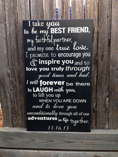 "Wedding Vows Anniversary Gift Wood Sign 12"" x 20"" Marriage Custom Personalize First 5th Fifth Anniversary on Etsy, $39.95"