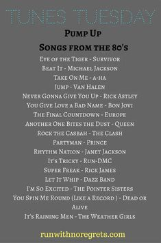 Check out my latest compilation of music for Tunes Tuesday - pump up songs from the 80's! You can find more running playlists at runwithnoregrets.com! Music Mood, Mood Songs, 80s Musik, Good Music, My Music, Music For You, Beat It Michael Jackson, Song Suggestions, Workout Songs