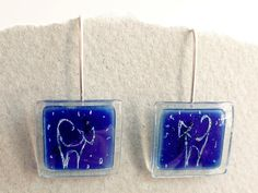 Pendientes colgantes vidrio y plata ley gato azul de BGLASSbcn por DaWanda.com