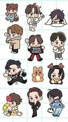Kai <credits to owner> Kaisoo, Girl Scout Logo, Chibi, Exo Stickers, Exo Anime, Exo Fan Art, Exo Kai, Suho, Kpop Exo