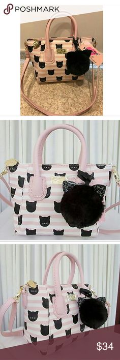 """Hot! New Luv Betsey Dome Cats Bag Hot! New Luv Betsey Cats & Striped Bag. 11""""x8"""" body. 14""""x8"""" body with handles. Betsey Johnson Bags"""