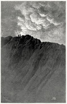 Part of the exterior of the crater of Cotopaxi. From: Travels amongst the great Andes of the equator, Edward Whymper, New York, 1892 Lost In Life, Scrapbook Blog, Mountain Pictures, Linoprint, Grey Gardens, Nature Drawing, Outdoor Paint, Wood Engraving, Pretty Art