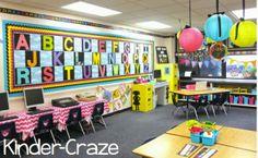 bright rainbow kindergarten classroom tour - LOVE the Word Wall/Alphabet Classroom Board, Classroom Walls, Special Education Classroom, Classroom Setup, Classroom Design, Preschool Classroom, Future Classroom, Classroom Organization, Kindergarten Classroom Layout
