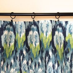 Ikat Drapery Curtain Panels. Choose from 11 Sizes. Frost Blue