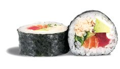 FUTOMAKI  - rouleau de riz enroulé de nori et garni de thon ; de saumon ; de crabe ; d'avocat ; d'aubergine et de concombre