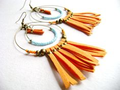 Vibrant  bright orange faux suede leather by DivinaLocura on Etsy, $27.00