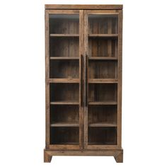 Chesney Rustic Lodge Glass Reclaimed Wood Double Door Bookcase | Kathy Kuo Home