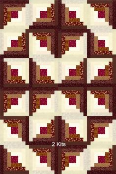 There are 6 different brown tone fabrics, 5 creams and 1 red in this quilt kit. - There are 6 different brown tone fabrics, 5 creams and 1 red in this quilt kit. With the log cabin - Édredons Cabin Log, Log Cabin Quilts, Log Cabins, Quilting Projects, Quilting Designs, Quilting Ideas, Quilt Design, Log Cabin Quilt Pattern, Quilt Top