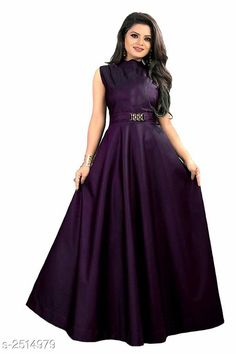 Checkout this latest Dresses Product Name: *Women's Solid Purple Taffeta Silk Dress* Sizes: L, XXL Country of Origin: India Easy Returns Available In Case Of Any Issue   Catalog Rating: ★4.1 (9869)  Catalog Name: Free Gift Vasavi Attractive Taffeta Silk Western Gowns Vol 3 CatalogID_338336 C79-SC1289 Code: 972-2514979-246