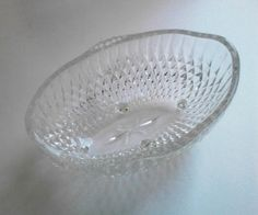 Vintage Indiana Glass Diamond Point Footed Oval Crystal Clear Bowl by TheCelticBelle on Etsy