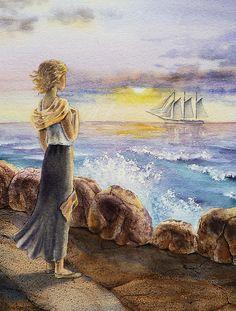 Title  The Girl And The Ocean   Artist  Irina Sztukowski   Medium  Painting - Watercolor