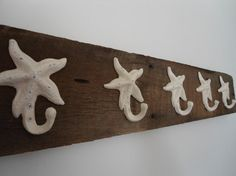 5 Starfish hooks on barnwood towel hanger for the by riricreations, $50.00
