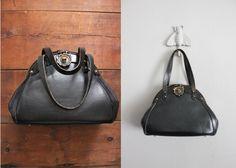 1970s vintage black leather doctor purse