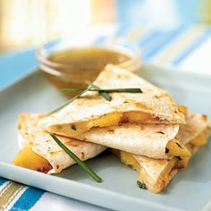 Peach and Brie Quesadillas with Lime-Honey Dipping Sauce: Yummy! when's my next BBQ party?