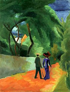 wetreesinart:  AUGUST MACKE (Meschede 1887-1914 Perthes-les-Hurlus), Der rote Weg, 1914, huile sur carton, 52x39,5cm