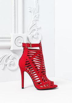 Red Laser Cut Ankle Suedette Heels
